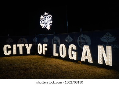 Logan City, Queensland / Australia - December 15 2018: City of Logan Sign at the City of Logan Christmas Carols