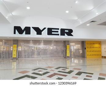 Logan City, Queensland/ Australia - November 15 2018: Closed Entrance Door at Myer Department Store Logan Hyperdome