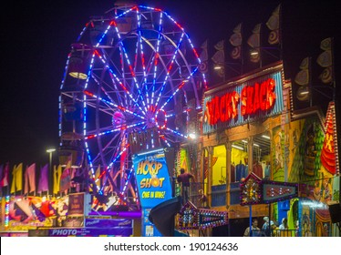 LOGANDALE , NEVADA - APRIL 10 : Amusement park at the Clark County Fair and Rodeo held in Logandale Nevada , USA on April 10 , 2014