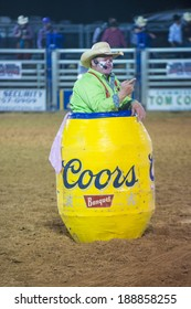 LOGANDALE , NEVADA - APRIL 10 : Rodeo Clown performing in the Clark County Fair and Rodeo a Professional Rodeo held in  Logandale Nevada , USA on April 10 2014