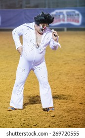 LOGANDALE , NEVADA - APRIL 10 : Rodeo Clown performing in the Clark County Fair and Rodeo a Professional Rodeo held in  Logandale Nevada , USA on April 10 2015