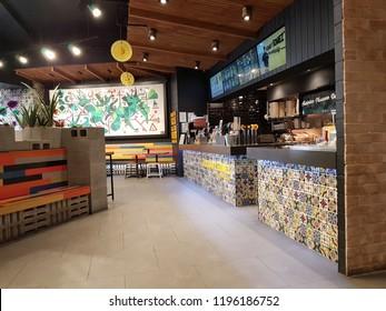 Loganholme, Logan City, Queensland/ Australia - September 21 2018: No costumer in Guzman y Gomez Mexican Taqueria Store at Logan Hyperdome Shopping Centre