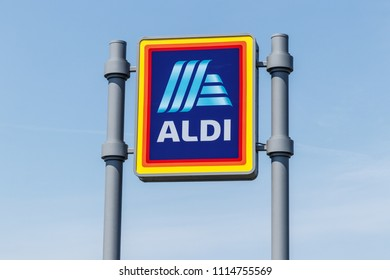 Logansport - Circa June 2018: Aldi Discount Supermarket. Aldi sells a range of grocery items, including produce, meat & dairy, at discount prices III