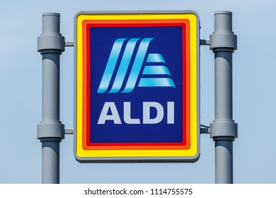 Logansport - Circa June 2018: Aldi Discount Supermarket. Aldi sells a range of grocery items, including produce, meat & dairy, at discount prices IV
