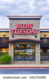 Loganville, GA - July 13th 2019: Ruby Tuesday store front sign - American franchise - location located in Georgia off of highway 78. Chain restaurant offers full all you can eat salad bar.