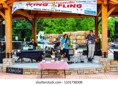 Loganville, Georgia- 4th Annual Loganville Wing Fling- May 26, 2018- The Stephen Lee Band entertaining the crowd.