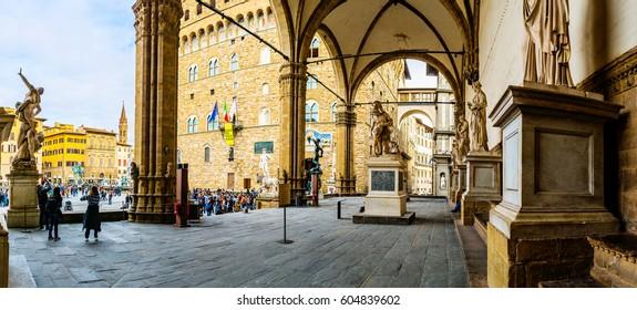 Loggia dei Lanzi, also called Loggia della Signoria, is a building on corner of Piazza della Signoria in Florence, Italy, adjoining Uffizi Gallery. It consists of wide arches open to street.