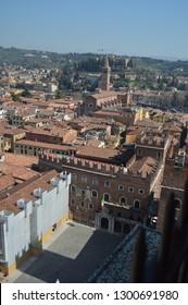 Loggia Square Or Congress Square Seen From The Dei Lamberti Tower In Verona. Travel, holidays, architecture. March 30, 2015. Verona, Veneto region, Italy.