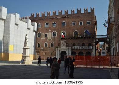 Loggia Square Or Congress Square In Verona. Travel, holidays, architecture. March 30, 2015. Verona, Veneto region, Italy.