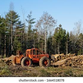 Logging Skidder parked in forest clearing