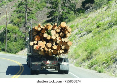 Logging truck on mountain highway,   British Columbia, Canada
