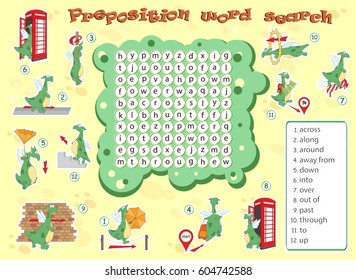 Logic game for learning English. Find the hidden prepositions of movement by vertical or horizontal lines