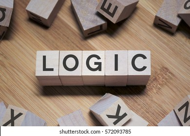 Logic Word Written In Wooden Cube