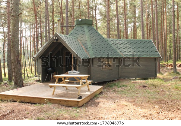 Logie Coldstone, Aberdeenshire, Scotland, UK, 15/08/2020: A remote cabin in the woods also known as a Bothy