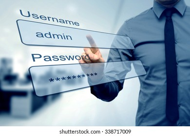 login box - finger pushing username and password fields