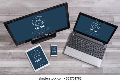 Login concept shown on different information technology devices