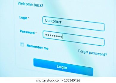 login - customer and password. Blue computer screen macro