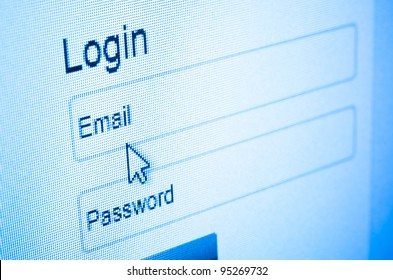 Login with email and password on computer screen