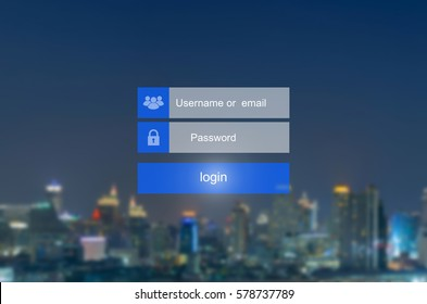 Login interface on touch screen. Touching login box, username and password inputs on virtual digital display on cityscape blurred background.