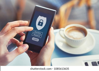 login to mobile app, cybersecurity, private access with username and password to personal data, concept on screen of smartphone