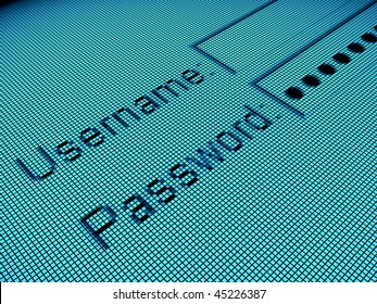 login page with login and password forms