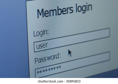 login & password computer screen