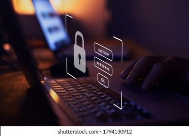 login and password, cyber security concept, data protection and secured internet access, cybersecurity