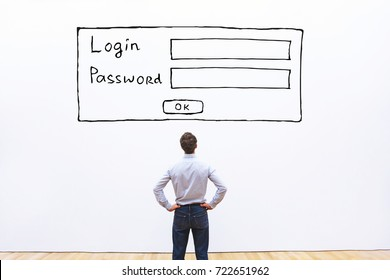 login and password, data protection and cyber security concept