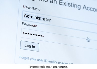 Login and password fields on screen. Security business concept