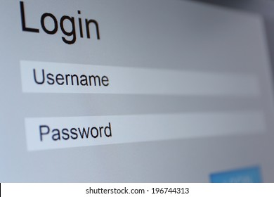 Login and password on monitor screen