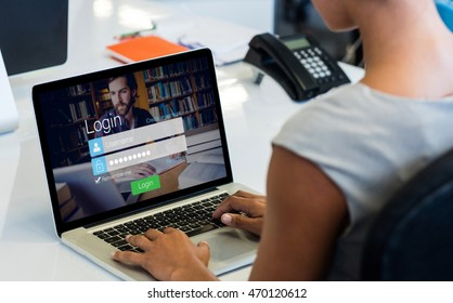 Login screen with hipster in library and laptop against woman working on laptop while sitting on chair
