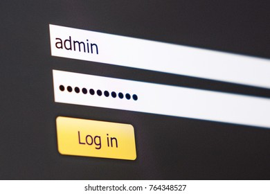 Login screen. Username and password in Internet browser on computer screen
