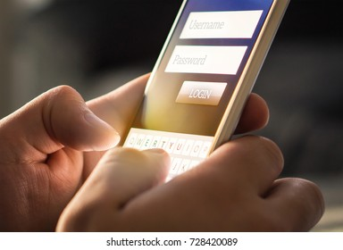 Login with smartphone to online bank account or personal information on internet. Registration to social media app. Hands typing and entering username and password to an imaginary mobile application.