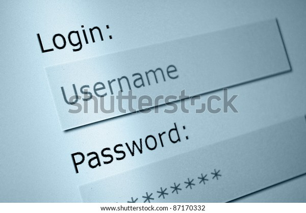 Login - Username and Password in Internet Browser on Computer Screen