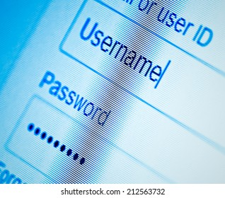 Login with username and password on computer screen