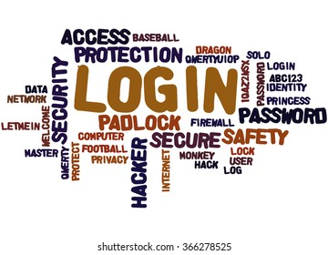 Login, word cloud concept on white background.