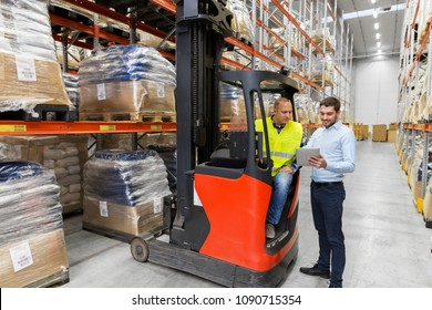logistic business, technology and people concept - loader on forklift and businessman with tablet pc computer at warehouse