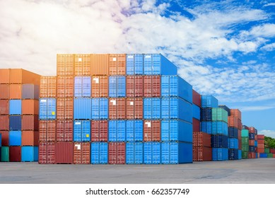 logistic concept , Containers from Cargo freight ship for import export.