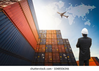 Logistic Concept, Manager working  for Import Export background