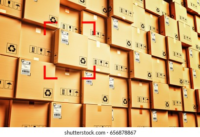 Logistic and distribution warehouse, packages and parcels delivery concept, stack of cardboard boxes, 3d illustration