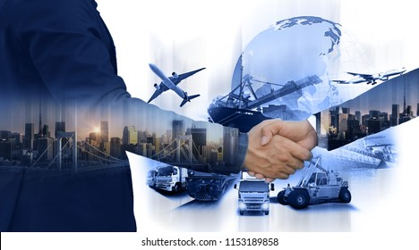 Logistic import export and transportation concept, Business people shaking hands, success business of Logistics Industrial Container Cargo freight ship for Concept of fast or instant shipping Online