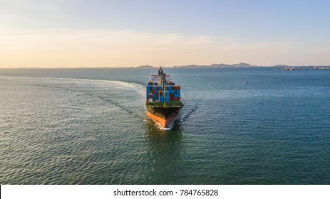 Logistic and transportation of International container cargo ship in the open sea.