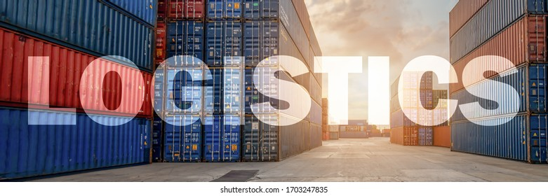 logistics banner of multiexposure letter of logistics overlay with containers yard and cargo with stacked containers background, headline banner for logistics industrial