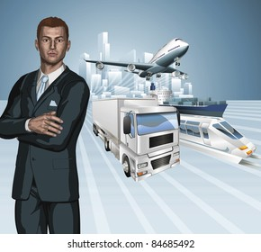 Logistics business concept background. Businessman, aeroplane truck, train, cargo ship and city.