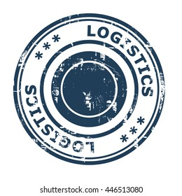 Logistics business concept rubber stamp isolated on a white background.