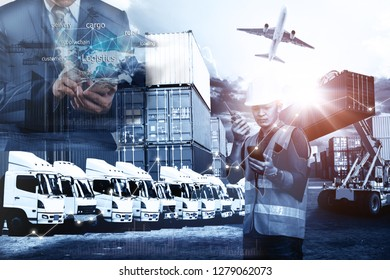 Logistics business industry growing Concept with infographic of incresing graph and logistic network distribution, Concept of fast or instant shipping, Online goods orders