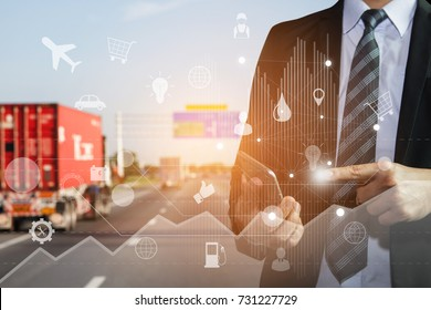 Logistics concept, Business man use smart phone connection technology interface global partner for logistic import export and transportation.