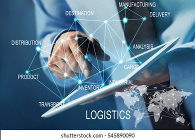 Logistics concept. Man with tablet and business strategy
