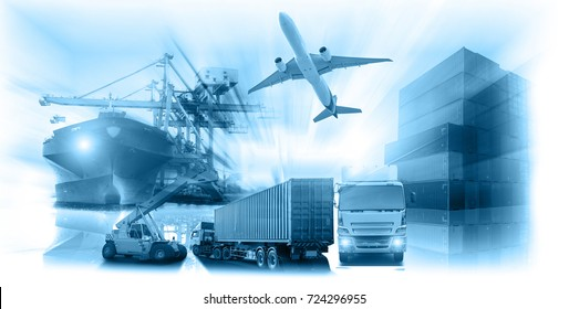 Logistics global technology transportation concept, Container Cargo ship and Cargo plane with working crane bridge in shipyard at sunrise, logistic import export and transport industry background