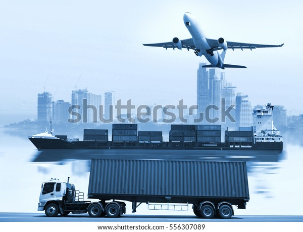 Logistics  global transportation concept. Maritime and land transport,  air transport on world map background use for import export shipping industry